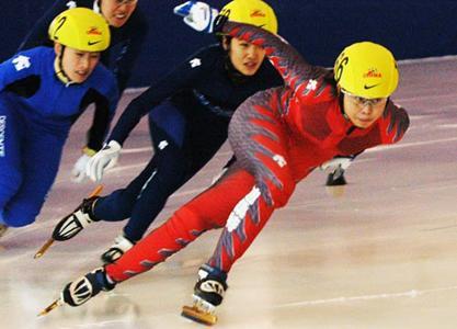 短道速度滑冰联赛比赛图